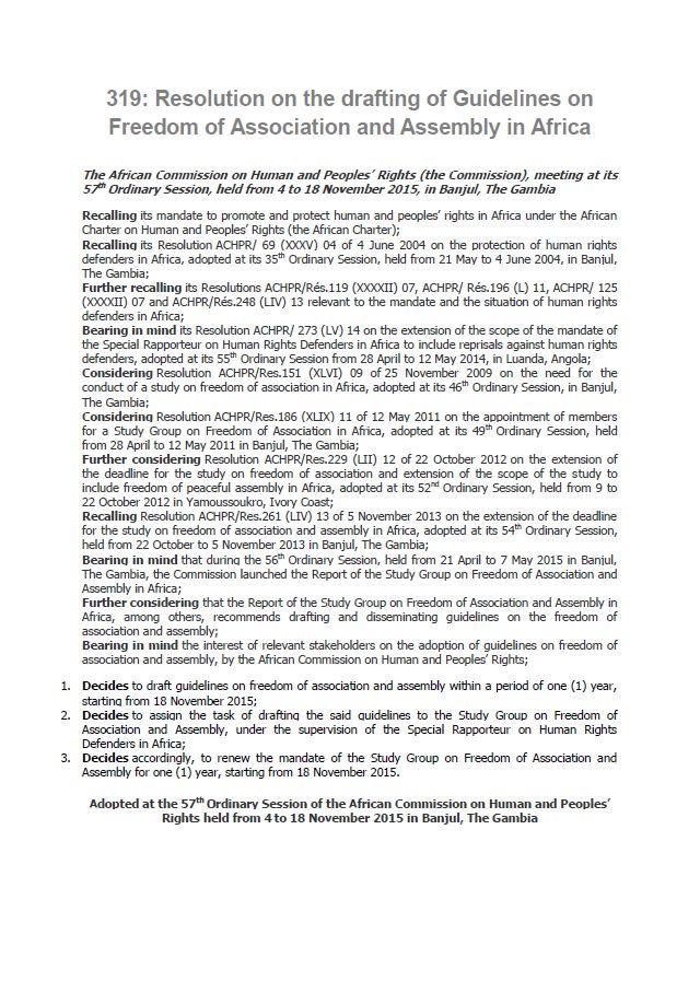 ACHPR | Resolution 319 (2015)