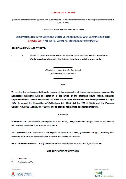 Dangerous Weapons Act 15 of 2013