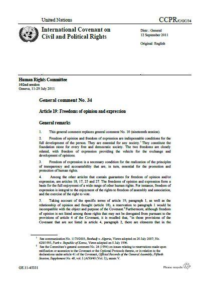 UNHRC | General Comment No. 34 (2011)