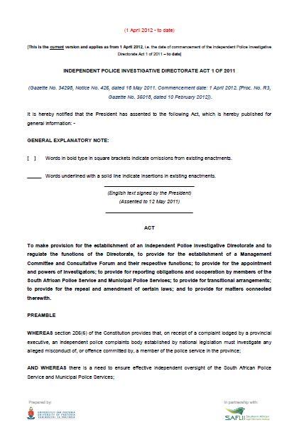 Independent Police Investigative Directorate (IPID) Act 1 of 2011