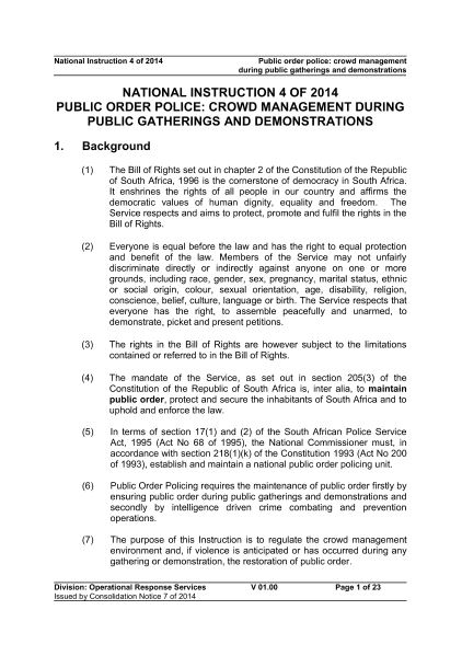 National Instruction 4 of 2014 - Public Order Police (Crowd Management During Public Gatherings)
