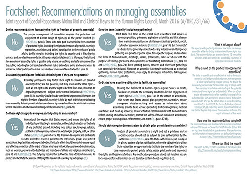 UNHRC | Factsheet: Recommendations on managing assemblies (2016)