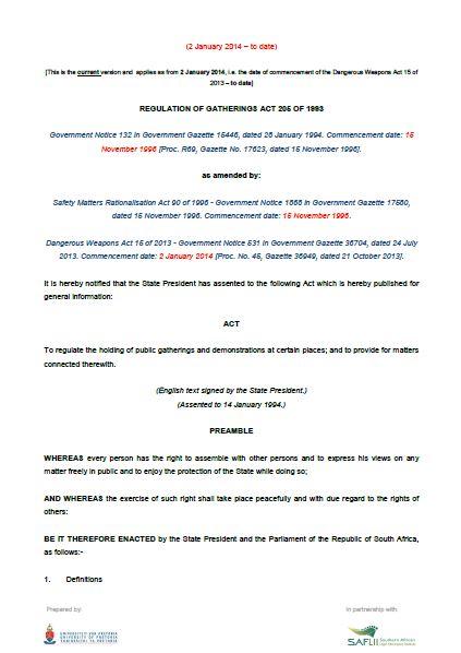 Regulation of Gatherings Act (RGA) 205 of 1993