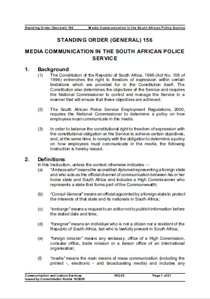 SAPS Standing Order 156 - Media Communication in the SAPS (2003)
