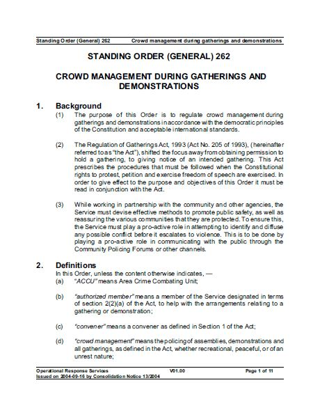 SAPS Standing Order 262 - Crowd management during gatherings and demonstrations (2004)