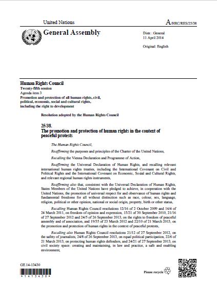 UNHRC | Resolution 25.38 (2014)