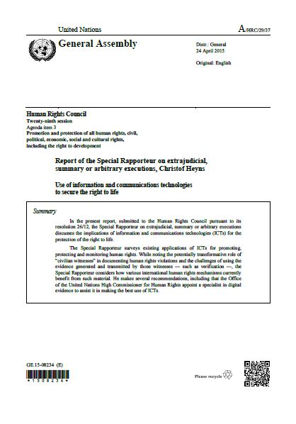 UNHRC   Report on the use of information and communications technologies to secure the right to life
