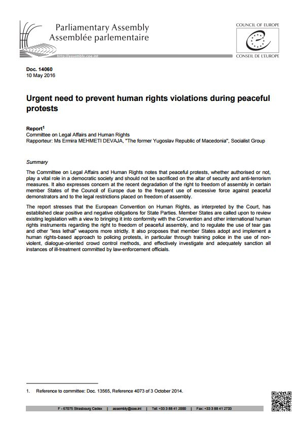 COE - Report on the Urgent Need to Prevent Human Rights Violations During Peaceful Protests (2016)